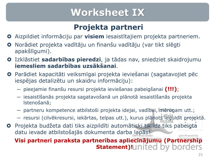 Worksheet IX
