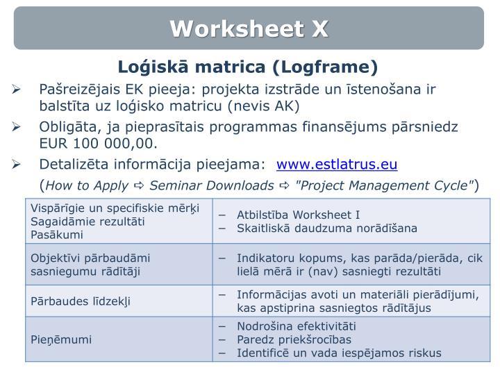 Worksheet X