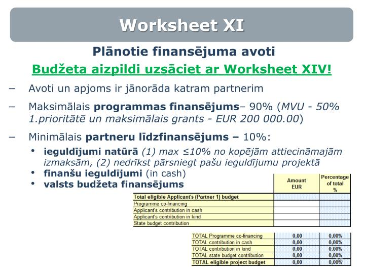 Worksheet XI