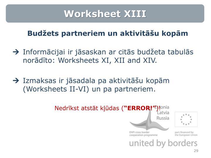Worksheet XIII