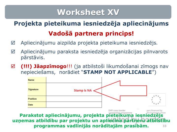 Worksheet XV