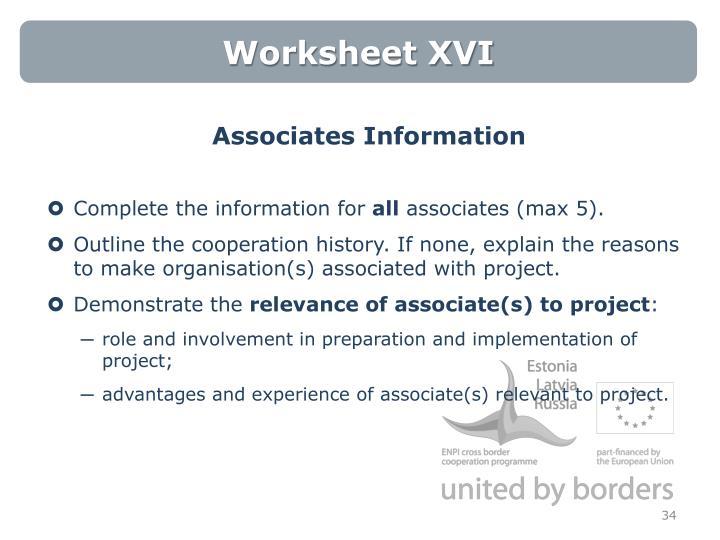 Worksheet XVI