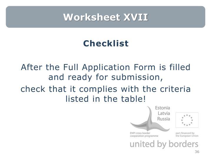Worksheet XVII