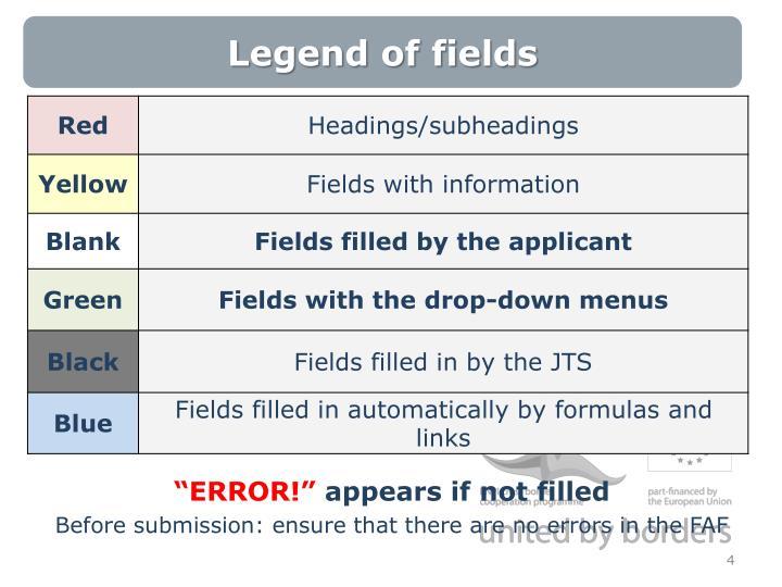 Legend of fields