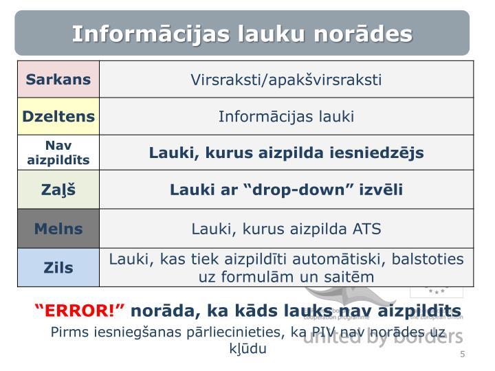 Informācijas lauku norādes