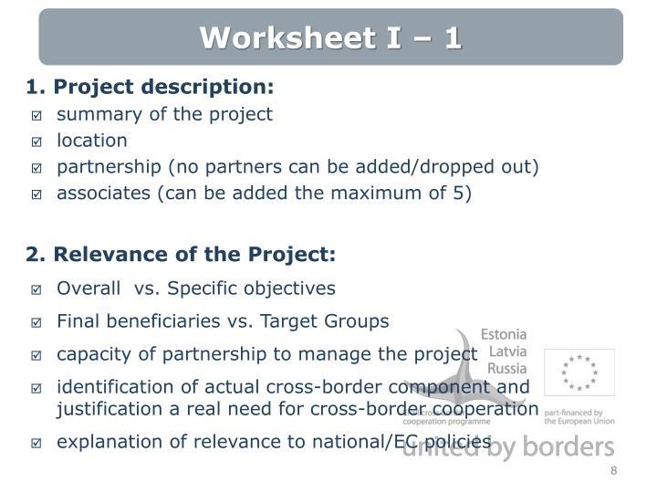 Worksheet I – 1