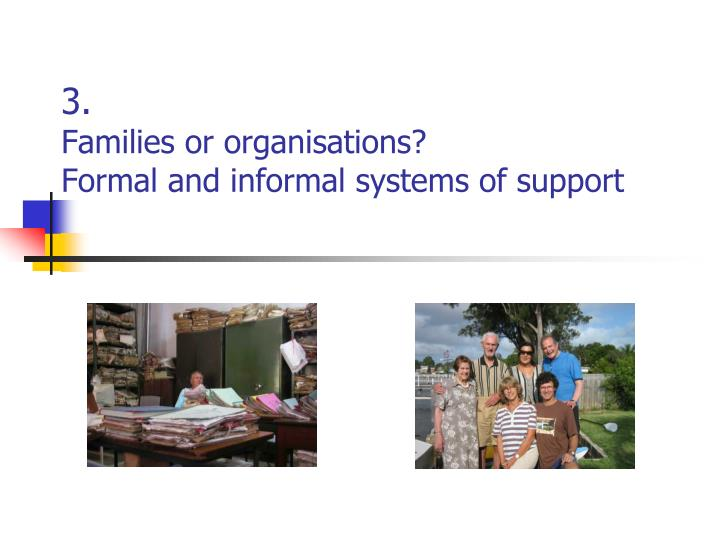 3 families or organisations formal and informal systems of support