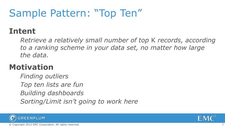 "Sample Pattern: ""Top Ten"""
