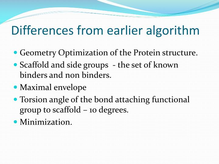 Differences from earlier algorithm