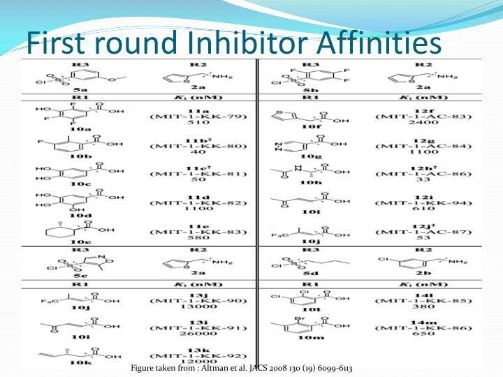 First round Inhibitor Affinities