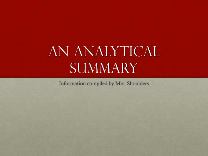 an analytical summary An industry analysis study and paper generally includes an abstract at the beginning, sometimes confused with an executive summary the purpose of an abstract is to provide a shorter version of the paper for the reader who wants the information but doesn't care about detailed methodology and data.