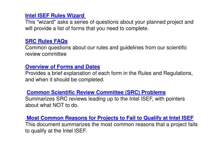 Intel ISEF Rules Wizard
