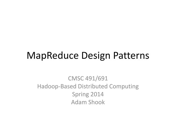 mapreduce design patterns n.