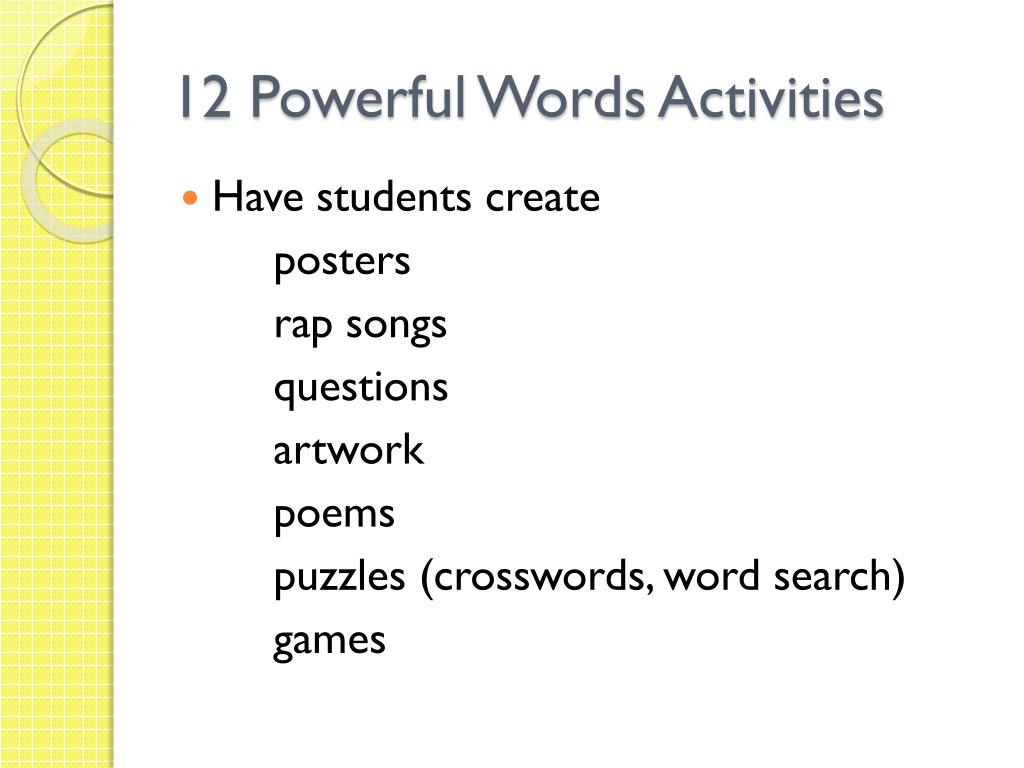 PPT - 12 Powerful Words PowerPoint Presentation - ID:2069393