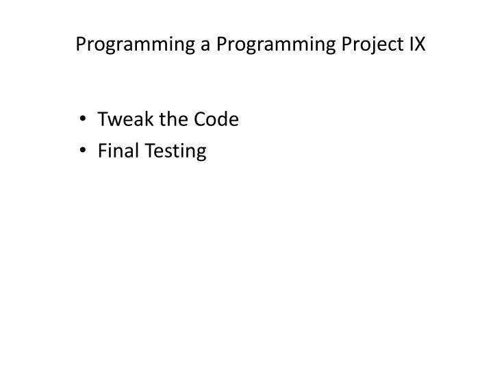 Tweak the Code