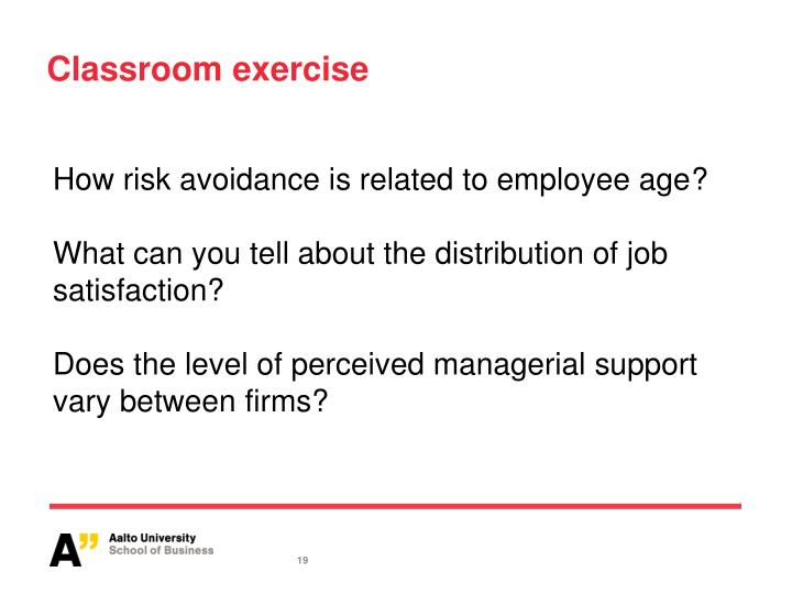 How risk avoidance is related to employee age