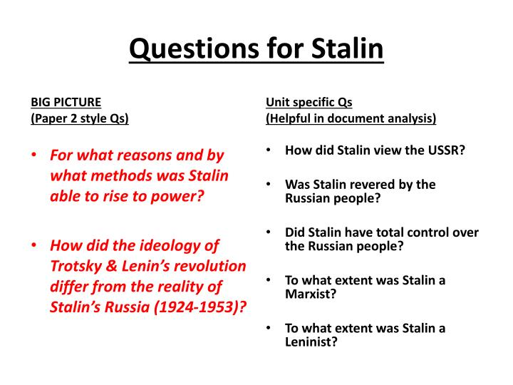 to what extent did stalin Joseph vissarionovich stalin (18 december 1878 – 5 march 1953) was a soviet revolutionary and politician of georgian nationality governing the soviet union from the mid-1920s until his death in 1953, he served as general secretary of the central committee of the communist party of the soviet union from 1922 to.