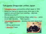 tokugawa shogunate unifies japan