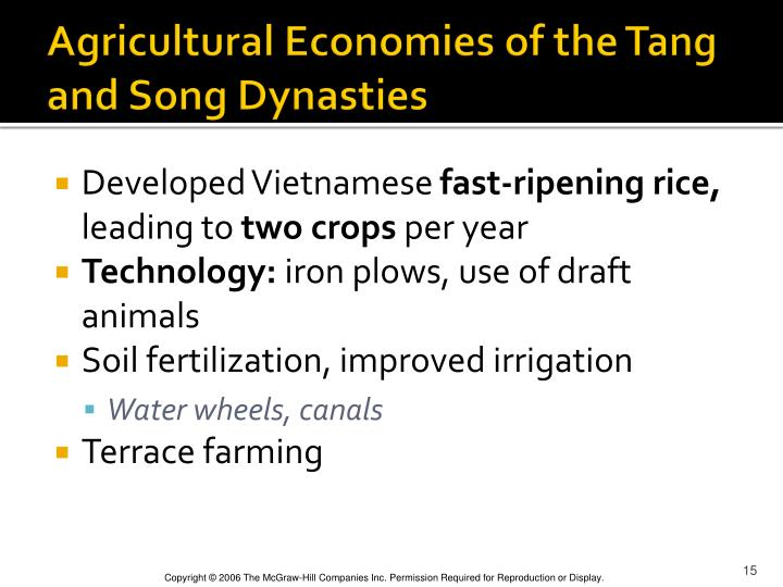 Agricultural Economies of the Tang and Song Dynasties