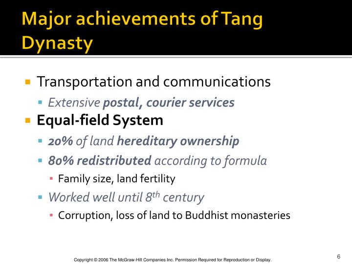 Major achievements of Tang Dynasty