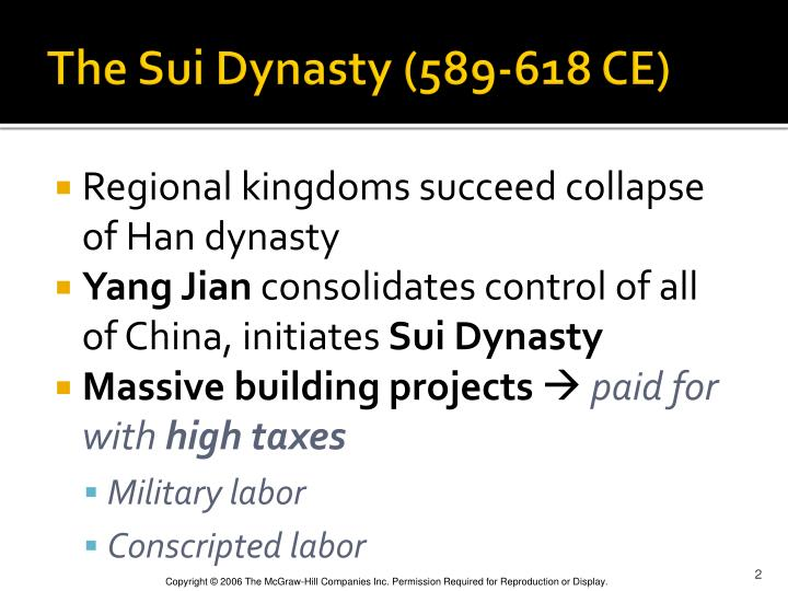 The sui dynasty 589 618 ce