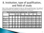 8 institution type of qualification and field of study