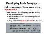developing body paragraphs