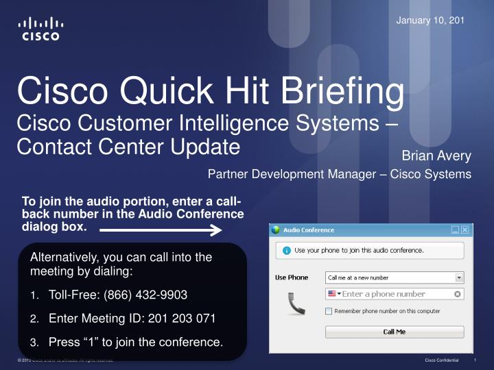 cisco quick hit briefing cisco customer intelligence systems contact center update n.