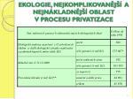 ekologie nejkomplikovan j a nejn kladn j oblast v procesu privatizace