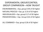 experimental group control group comparison how taught