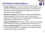 prioritization criteria address