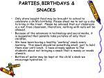 parties birthdays snacks