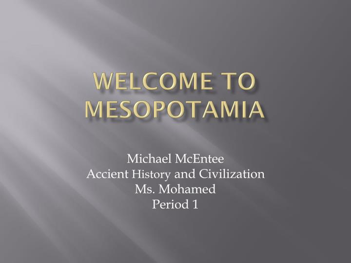 welcome to mesopotamia n.