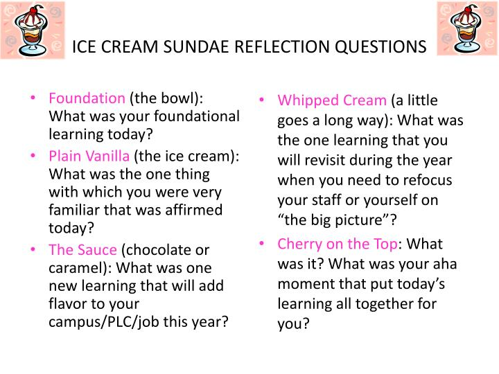 ice cream sundae reflection questions n.