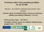 kvietimas teikti vietos projekt parai kas nr 02 xviii