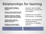 relationships for learning