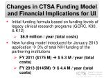 changes in ctsa funding model and financial implications for ui