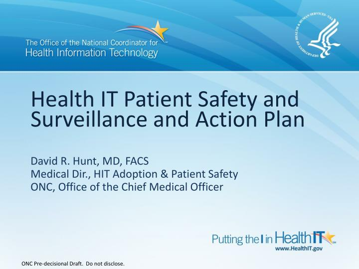 health it patient safety and surveillance and action plan n.