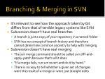 branching merging in svn