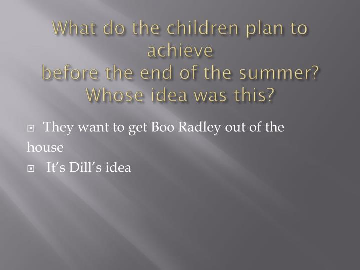 What do the children plan to achieve
