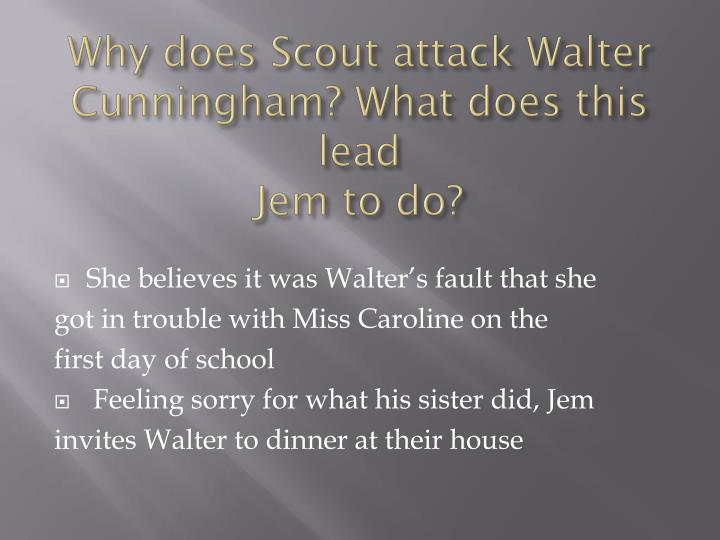 Why does Scout attack Walter