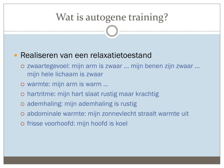 Wat is autogene training