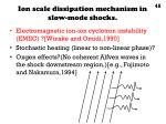 ion scale dissipation mechanism in slow mode shocks