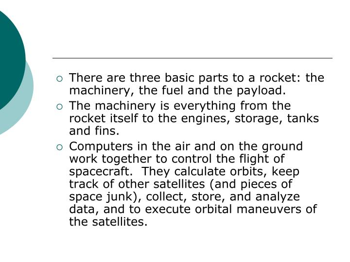 There are three basic parts to a rocket: the machinery, the fuel and the payload.