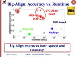 big align accuracy vs runtime
