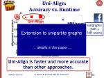uni align accuracy vs runtime