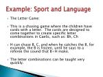 example sport and language