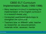 cbse elt curriculum implementation study 1993 1998