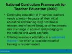 national curriculum framework for teacher education 2000