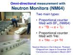 omni directional measurement with neutron monitors nm64